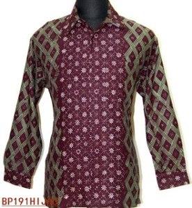 BP191 Hijau, Kemeja batik pria lengan panjang 97