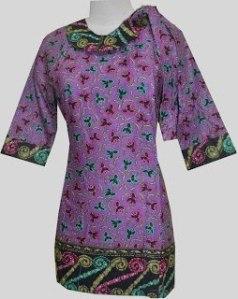 M639 Ungu, Blouse Batik Kancing Depan Bagian Samping, Ikat Tali di Bahu 97