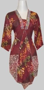 M652 Merah, Blouse Batik Terbuat dari Bahan Paris, Belakang Karet, Aplikasi Payet Rp 110.000,-