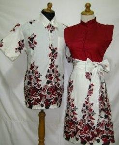 D839 Merah, Sarimbit batik model dress kancing depan, belakang karet, tali pinggan nempel Rp 175.000,-