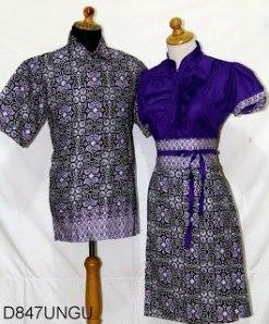 D847 Ungu, Sarimbit Batik Model Dress Kancing Depan, Belakang Karet Rp 182.000,-
