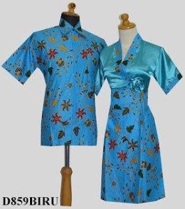 D859 Biru, Sarimbit Batik Model Dress Kimono, Tempel Mawar Samping Rp 182.000,-
