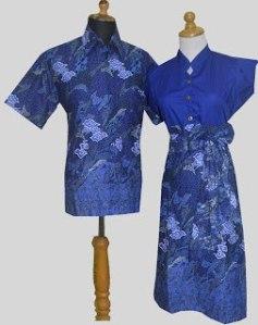D875 Biru, Sarimbit Batik Model Dress Kancing Depan, Belakang Karet Rp 182.000,-